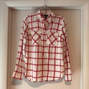 J Crew - Cotton Red + Cream Check Shirt